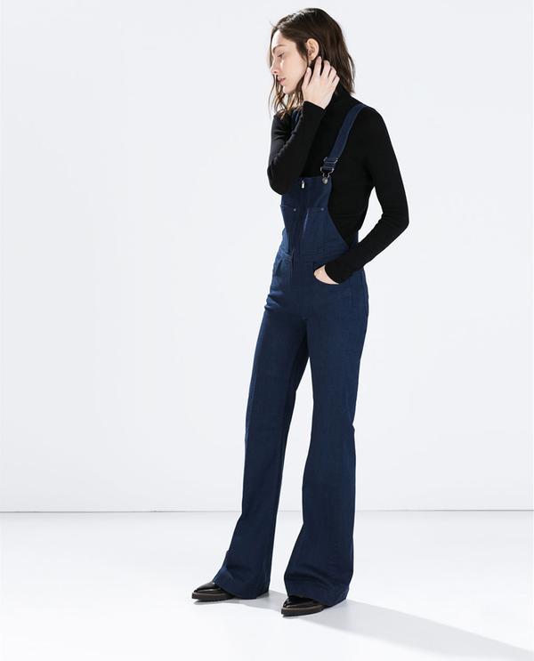 Shop The Look: Zara Indigo Denim Dungarees ($100) + Track Sole Ballet Flats ($70)