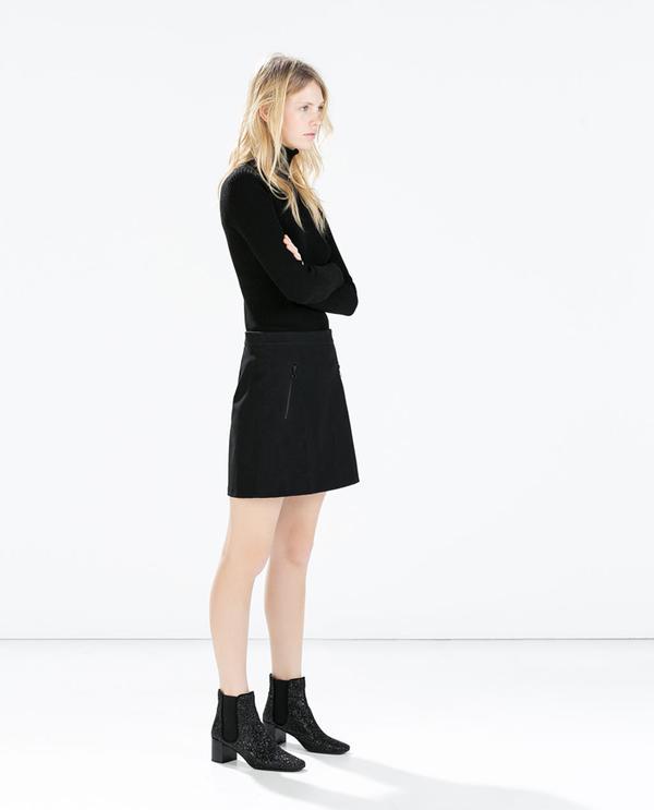 Shop The Look: Zara Snake-Patten Skirt ($60) + Glitter Booties ($100) in Black