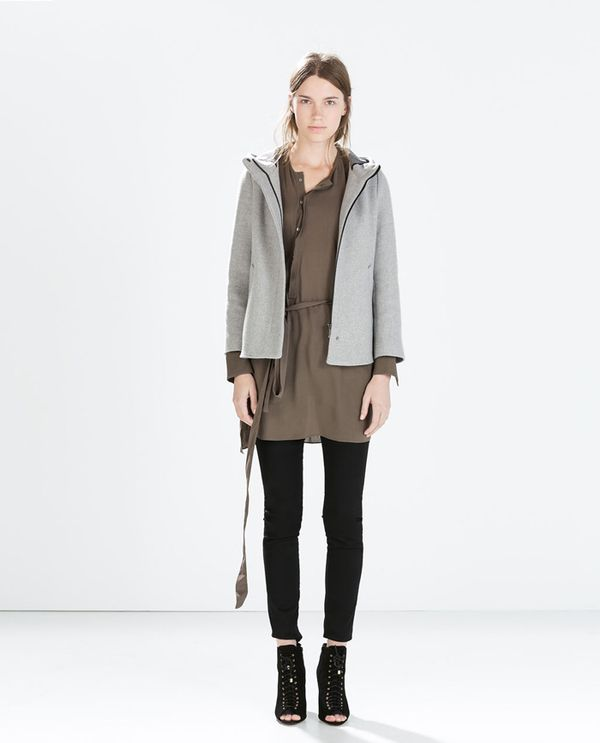 Shop The Look: Zara Short Coat With Hood ($129) + Studio Asymmetric Hem Shirt ($129) + Peep-Toe Heel Leather Booties ($100)