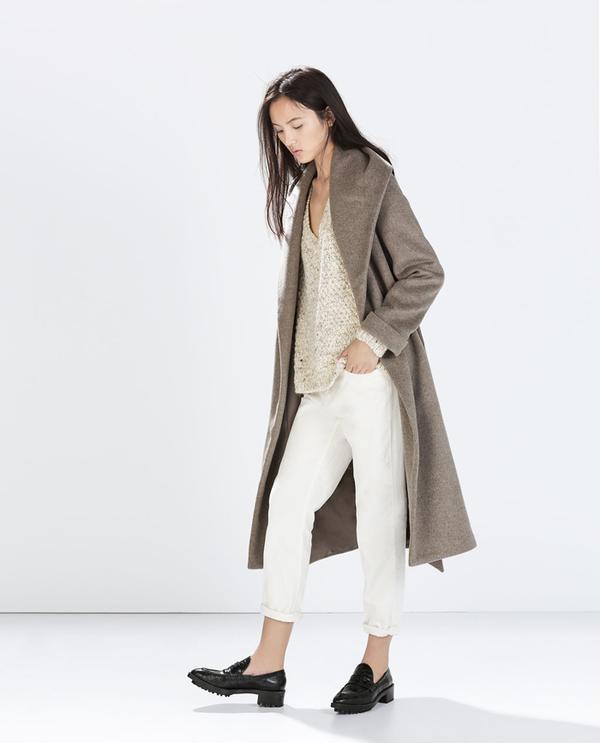 Shop The Look: Zara Wool Coat With Belt ($189) + V-Neck Fancy Knit Top ($60) + Boyfriend Corduroy Trousers ($60) + Croc Pattern Moccasins ($80)