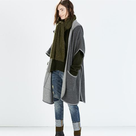 zara outfit jeans and sweater with coat