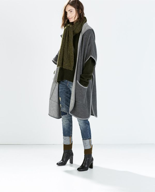 Shop The Look: Zara Hooded Cape With Piping ($129) + Leather High Heel Booties ($139)