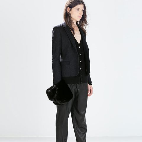 zara outfits leather pants and blazer