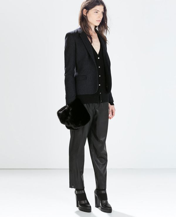 Shop The Look: Zara Woollen Blazer With Elbow Patches ($129) + Cashmere Cardigan With Side Slits ($169) + Leather Effect Trousers ($40) + High Heel Track Sole Shoes ($139)
