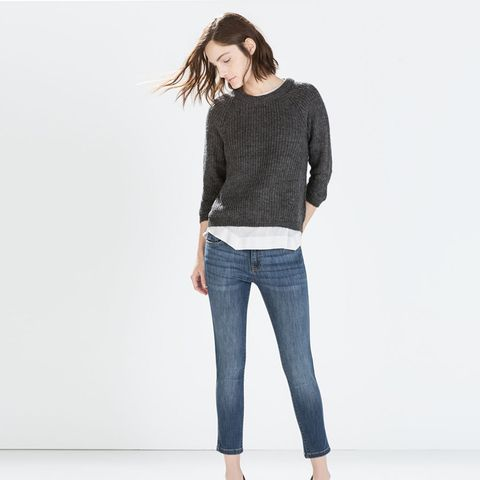 zara outfits jeans and cropped sweater