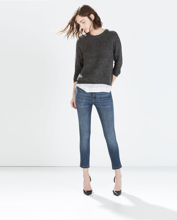 Shop The Look: Zara Fitted Cropped Jeans ($60) in Blue