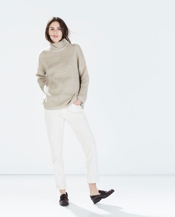 Shop The Look: Zara Oversize Sweater ($60) + Boyfriend Corduroy Trousers ($60) + Moccasins With Decorative Band ($90) in Burgundy