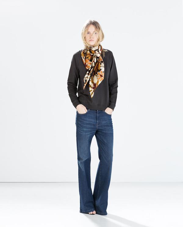 Shop The Look: Zara Basic Sweatshirt ($20) + Printed Scarf ($50) in Ochre