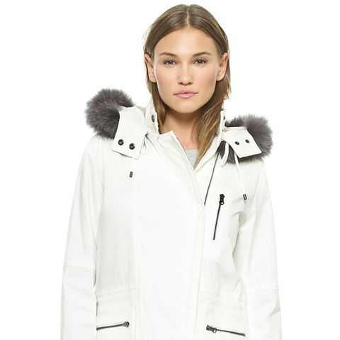 Quilted Parka with Fur Trim