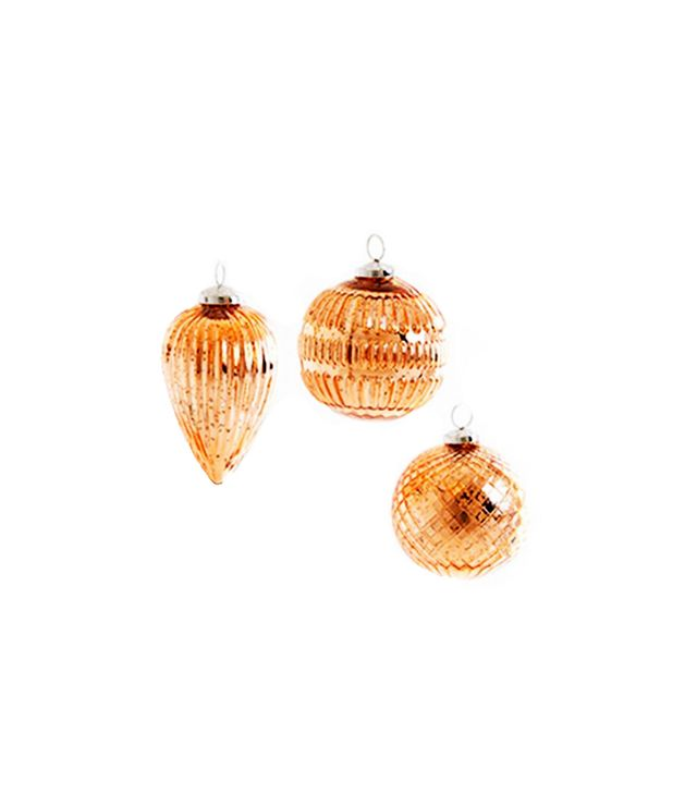 Lulu & Georgia Set of Three Glitz Ornaments in Copper