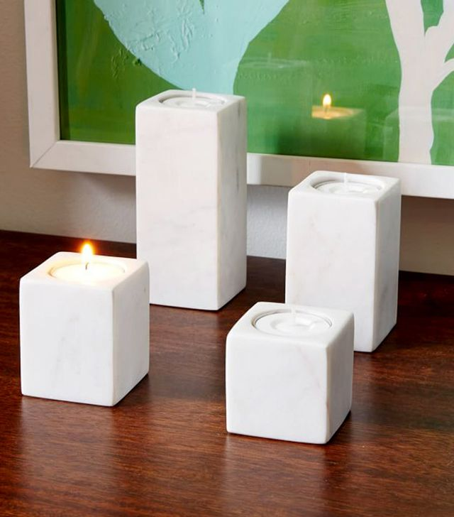West Elm Set of Four Marble Block Candle Holders