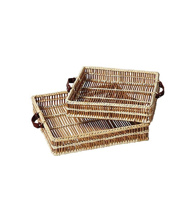 Serena & Lily Set of Two Natural Woven Trays