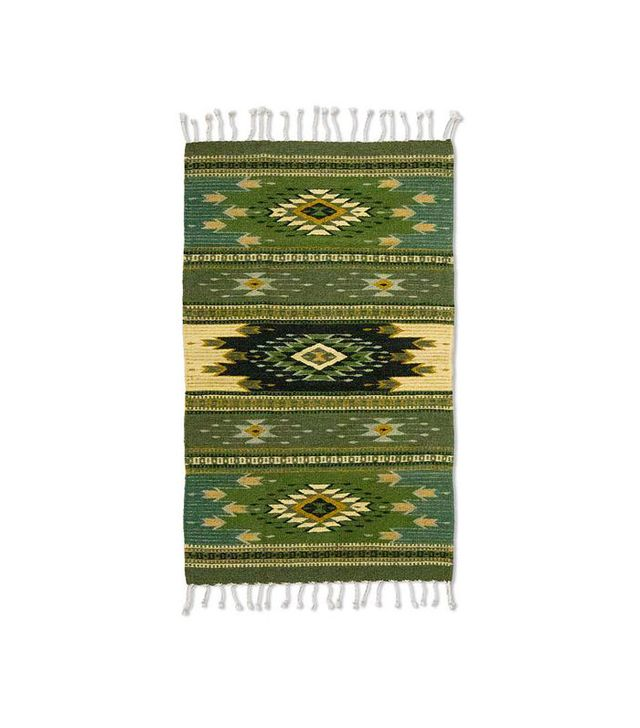 NOVICA Fair Trade Green Geometric Rug