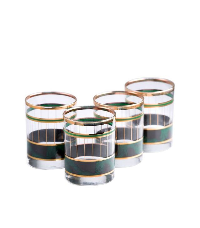 Furbish Set of Four Malachite and Gold Rocks Glasses