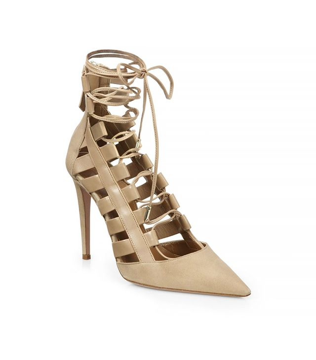 Aquazzura Amazon Leather Lace-Up Pumps