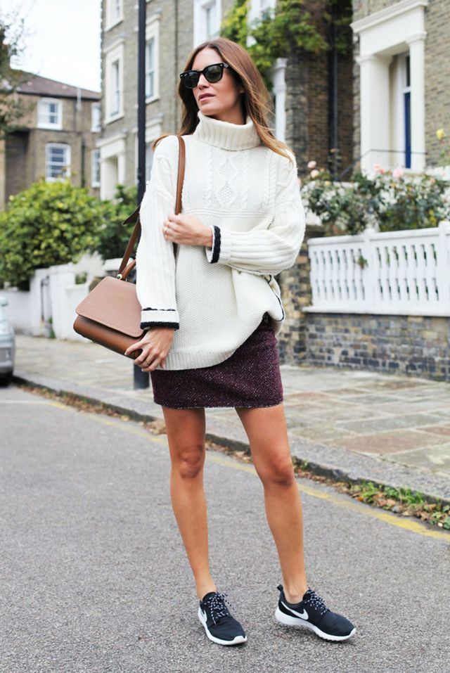 White Chunky Knit + Tweed Miniskirt + Cool Sneakers