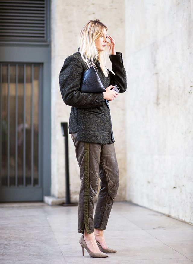Tweed Blazer + Crinkled Leather Side Stripe Trouser + Pump