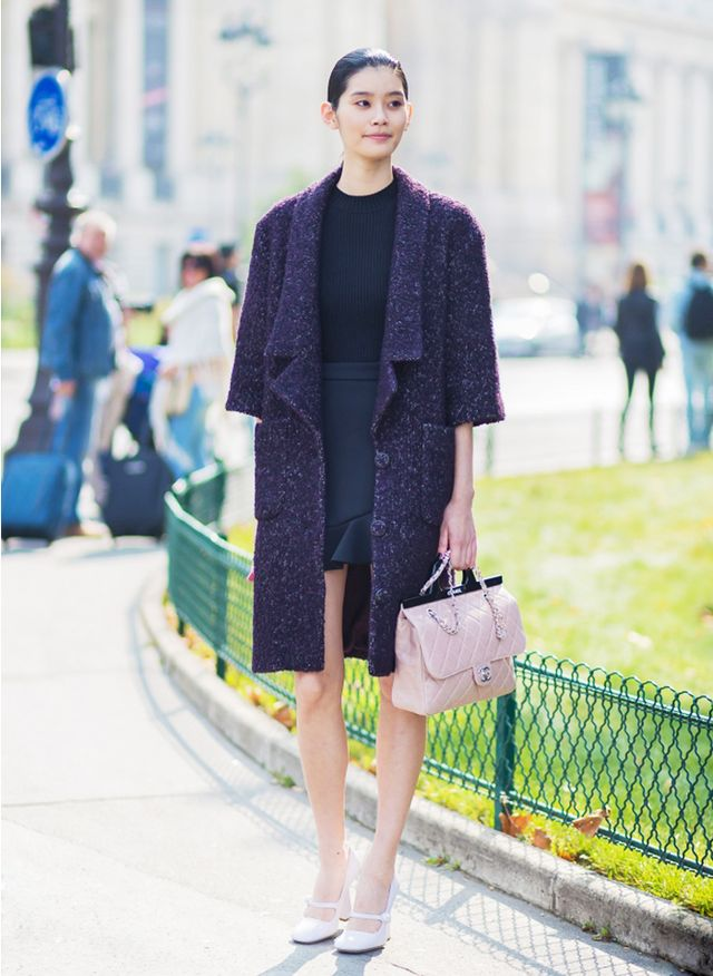 Black Flirty Skirt + Tweed Coat + Ladylike Purse + Mary Jane Heels
