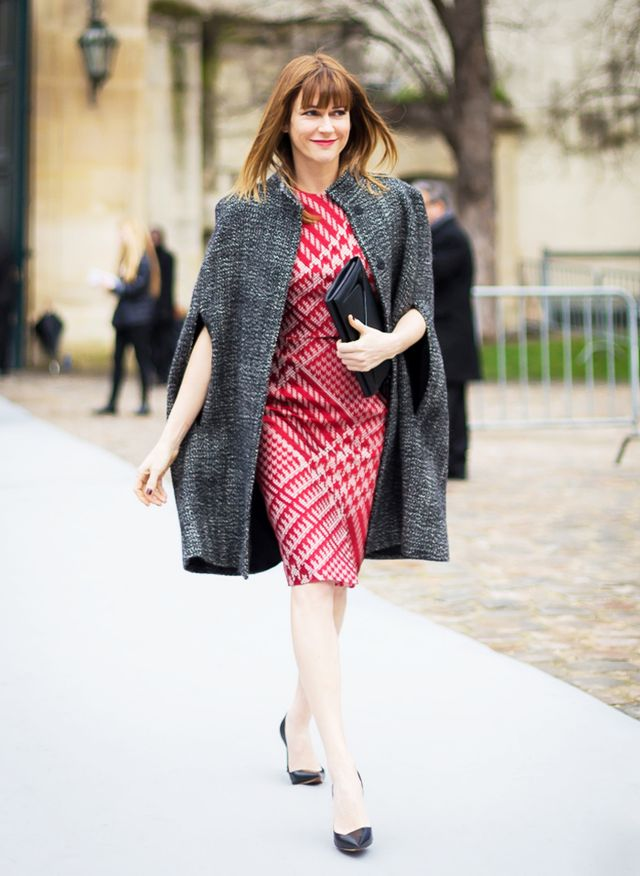 Red Tweed Dress + Tweed Cape + Classic Black Pump