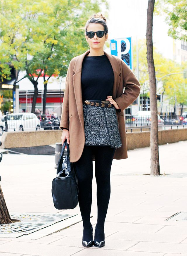 Tweed Mini + Southwestern Belt + Camel Coat + Pump