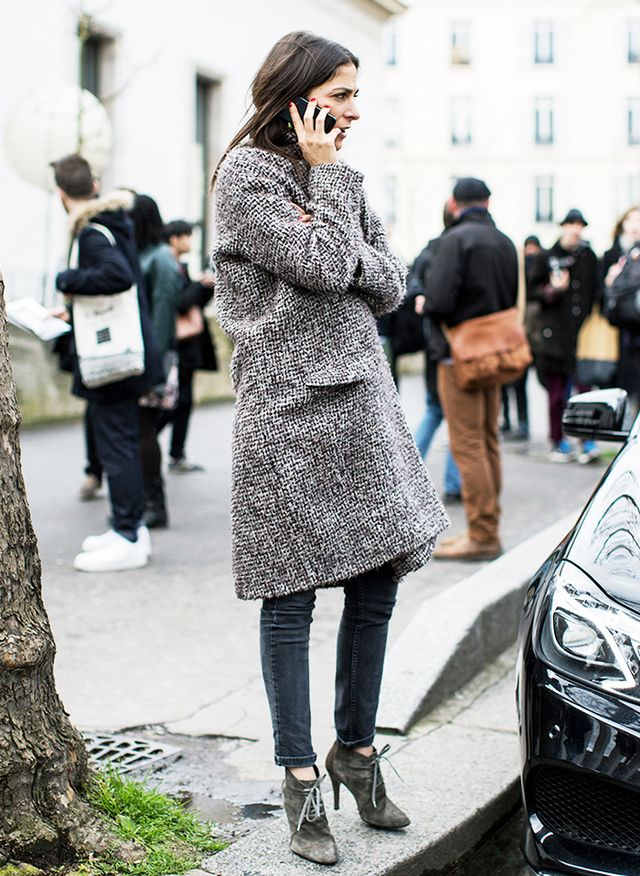 Tweed Coat + Skinny Jean + Lace-up Bootie