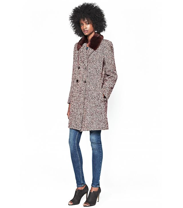 French Connection Moscow Tweed Faux Fur Collard Coat
