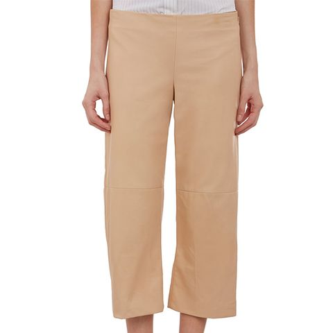 Leather Wide-Leg Cropped Pants