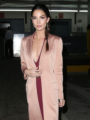 Lily Aldridge Steps Out in the Chicest Evening Coat We Ever Did See