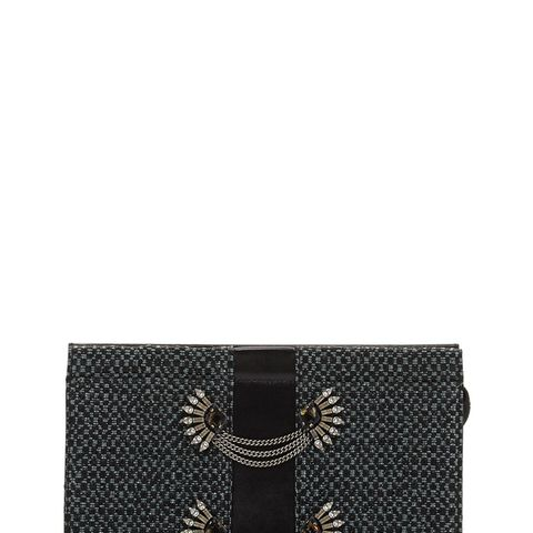 Lenox-Embellished Raffia Clutch Bag