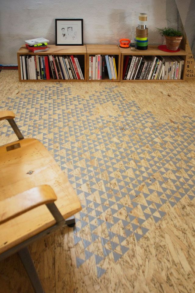 "Stenciled ""Rug"" on Particle Board"
