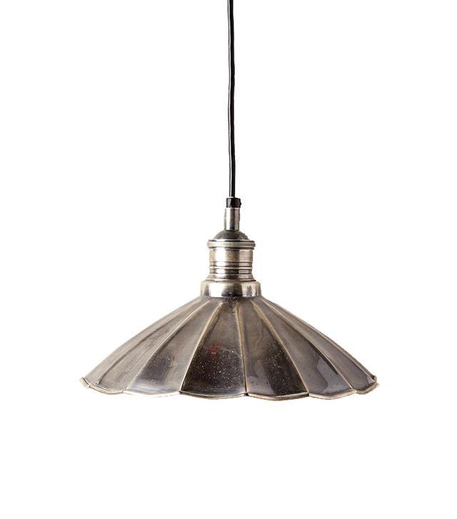 Anthropologie Scalloped Brass Pendant Lamp