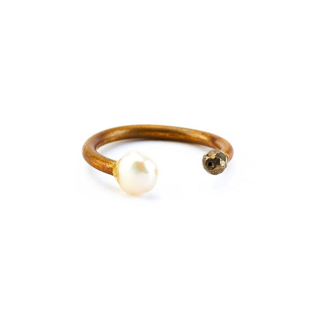 Ariana Ost Pearl and Pyrite Open Ring