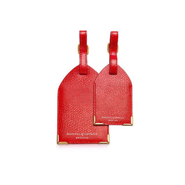 Aspinal of London Set of 2 Lizard Embossed Leather Luggage Tags