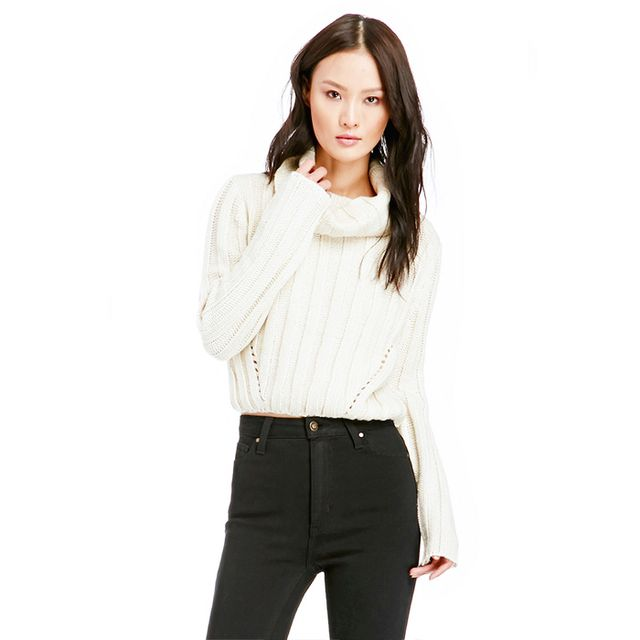 JOA Funnel Neck Cropped Cable Sweater