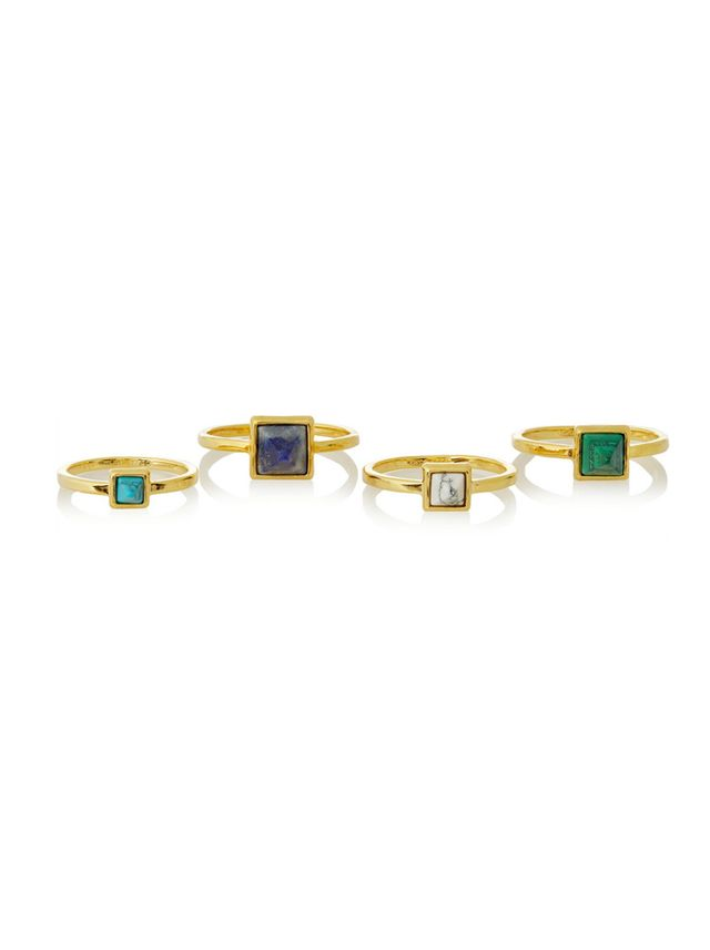 Eddie Borgo Set of Four Gold-Plated Multi-Stone Rings