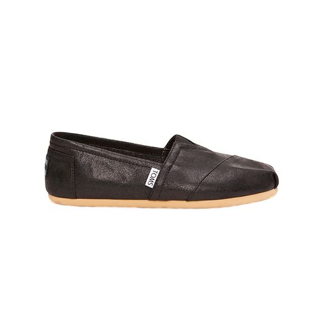 TOMS Black Metallic Synthetic Leather Women's Classics