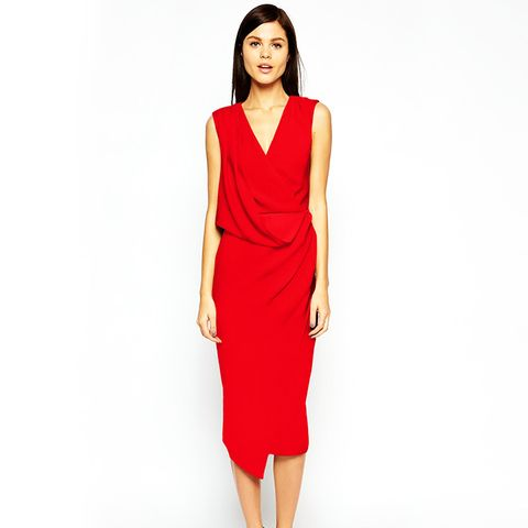 Wrap Drape Midi Dress