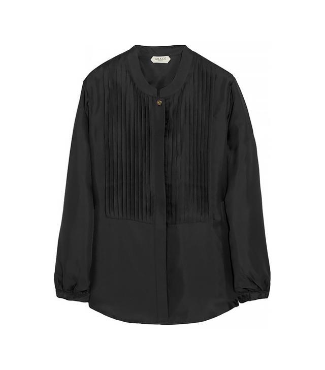 Grace MMXIII Aspen Pleated Silk-Twill Blouse