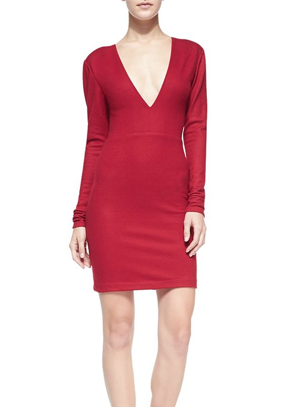 Alice + Olivia Fiona Deep-V Long-Sleeve Dress