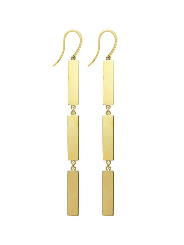 Jennifer Meyer Plain 3 Drop Rectangle Earrings