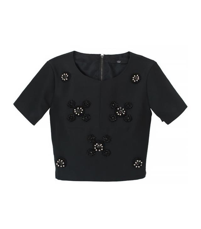 Tibi Cluster Beading Short Sleeve Top ($