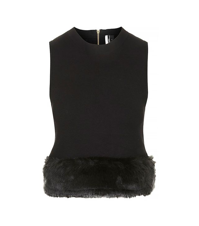 Topshop Faux Fur Trim Knitted Top
