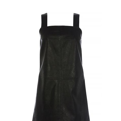 Faux Leather Bubble Dungaree Dress