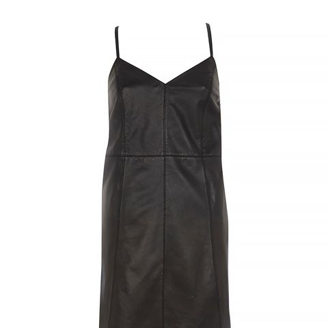 Black Leather Slip Dress