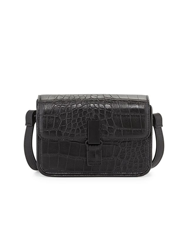 French Connection,Forever 21 Lady Croc-Embossed Faux-Leather Crossbody Bag