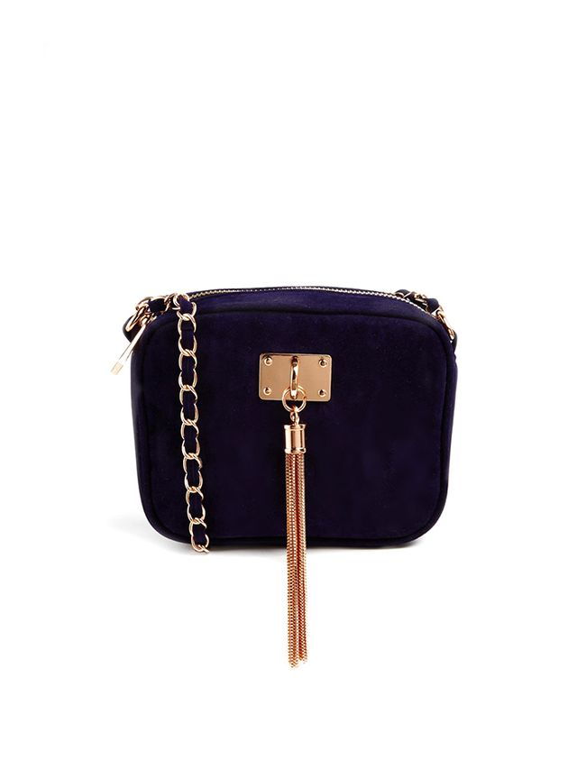 ASOS Velvet Cross Body Bag with Chain Tassle