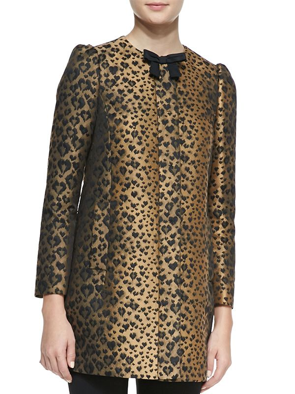 Red Valentino Bow Neck Leopard-Print Topper