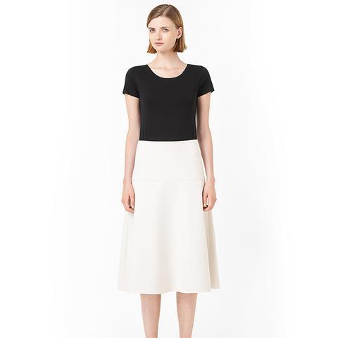 Raw-Cut Flared Skirt