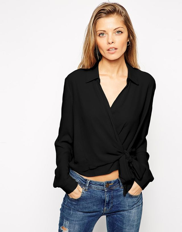 ASOS Cropped Wrap Front Blouse