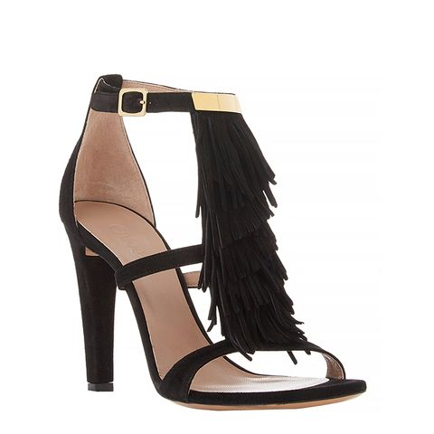 Tiered Fringe-Trim Sandals